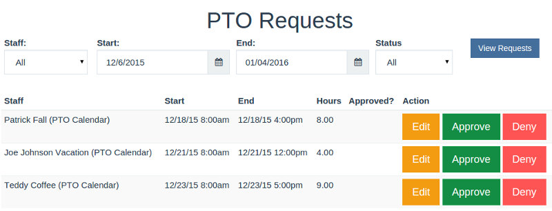 Approve or deny PTO with a click